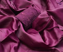 Load image into Gallery viewer, Magenta two tone plain saree with netted blouse