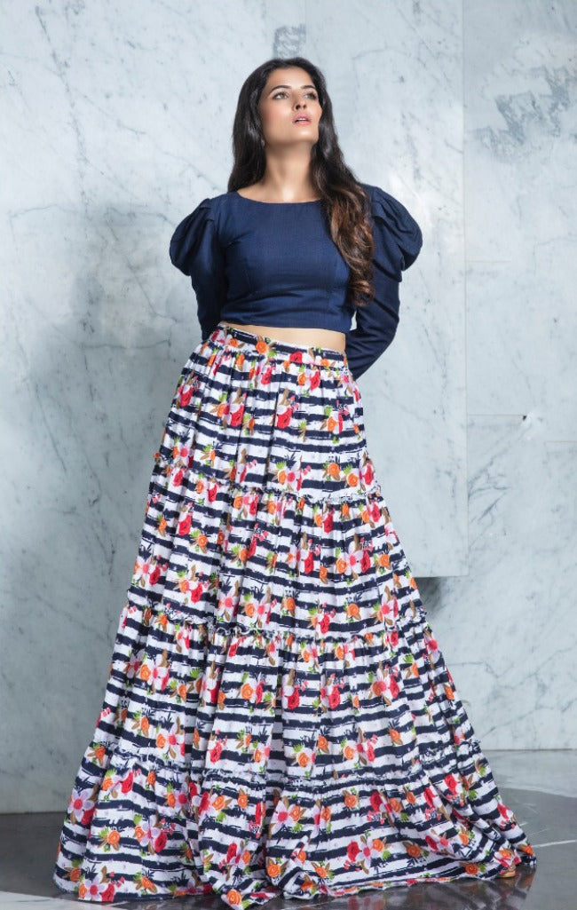 Gorgeous Indigo Flared Skirt and Top