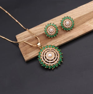Stone studded neckpiece with earring