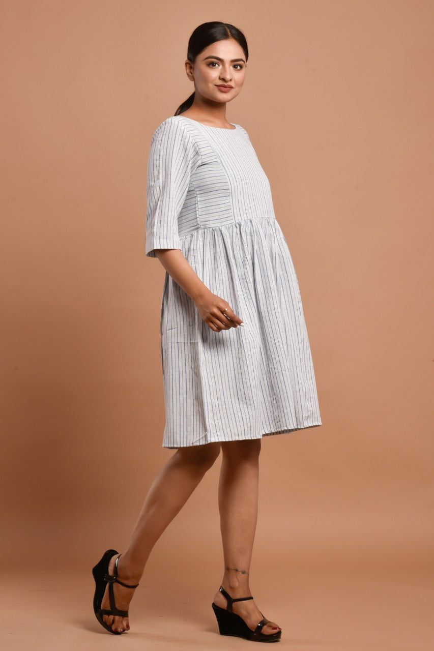 Off-white striped knee length dress