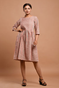 Pink with Grey stripes Knee length dress