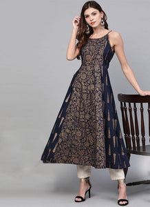 Navy blue with gold printed A-line kurta