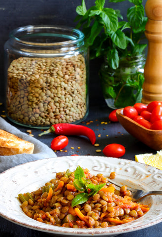 Lentils with Carrot, celery and tomato