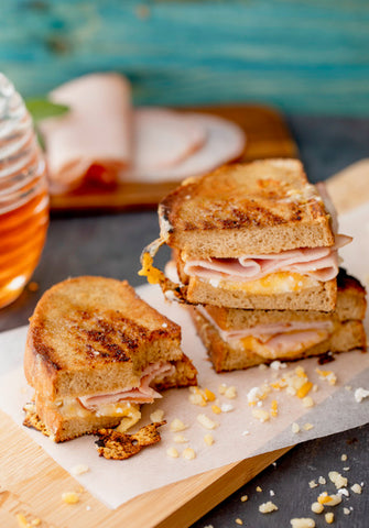 Truffle Ham and cheese toasted sandwich with honey