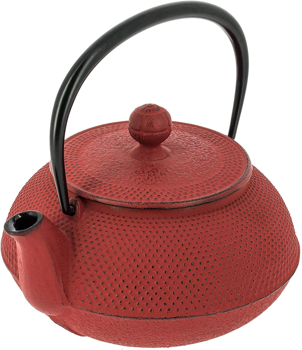 Traditional Red Cast Iron Teapot