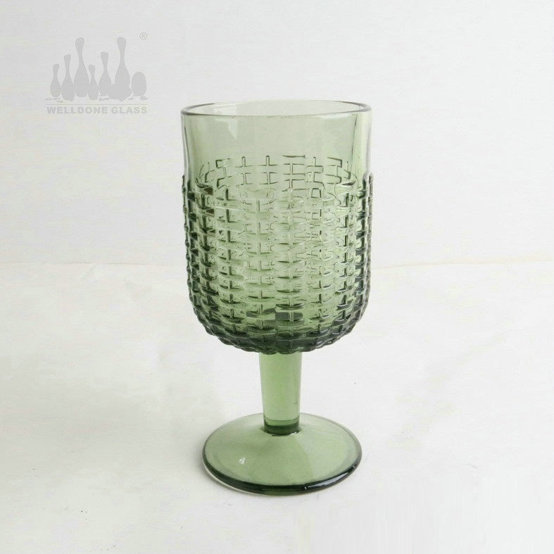 Footed Green Water Glass
