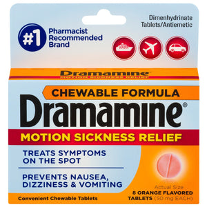 Dramamine Chewable Formula Motion Sickness Relief, Orange - 8 Count