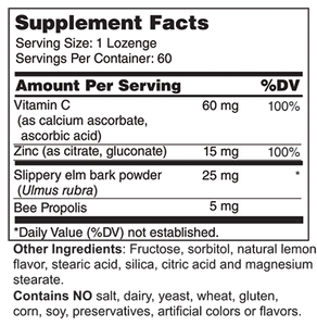 Zinc Lozenges 15 mg (with Vitamin C, Bee Propolis, and Slippery Elm)