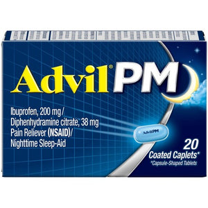 Advil PM Pain Reliever & Nighttime Sleep Aid Coated Caplets 200mg Ibuprofen - 20 Count