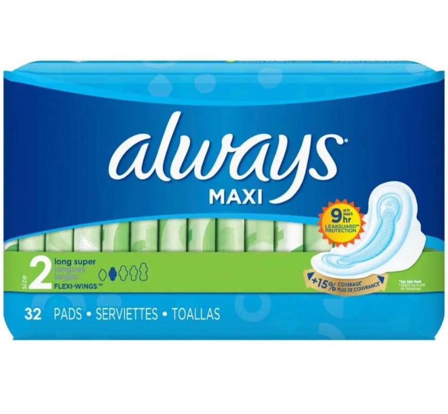 Always Maxi Pads with Flexi-Wings - Size 2, 32 Count