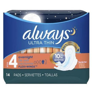 Always Ultra Thin Overnight Pads with Flexi-Wings - Size 4, 14 Count