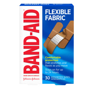 Band-Aid Brand Flexible Fabric Adhesive Bandages, Assorted Sizes - 30 Count