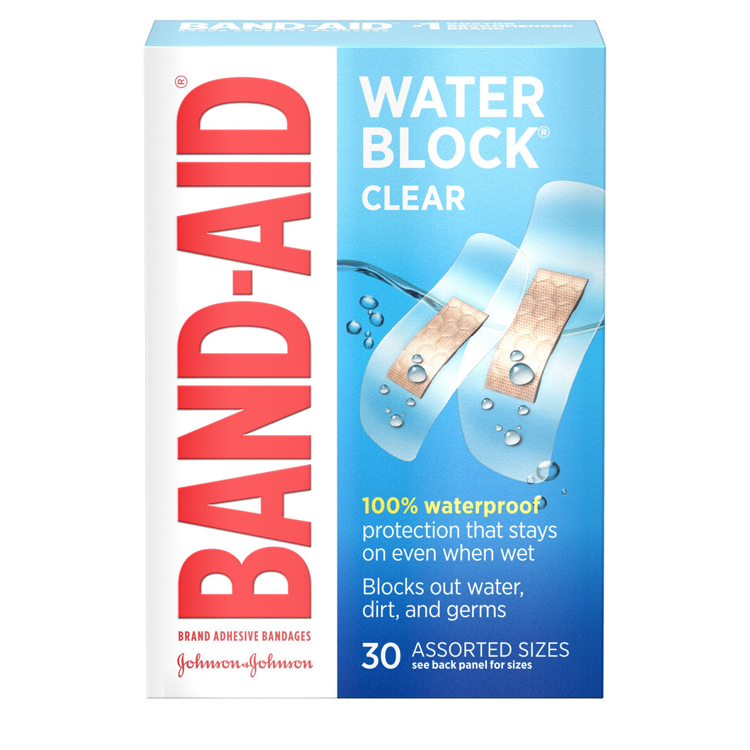 Band-Aid Brand Water Block Clear Waterproof Adhesive Bandages, Assorted Sizes - 30 Count