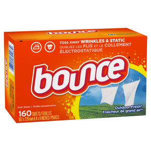 Bounce Fabric Softener Dryer Sheets, Outdoor Fresh - 160 Count
