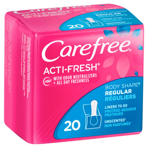 Carefree Acti-Fresh Regular Pantiliners, Unscented - 20 Count