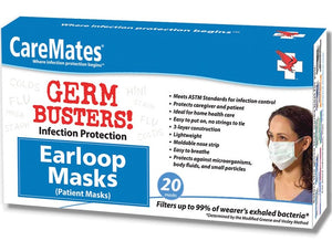 CareMates Germ Busters Earloop Disposable Masks - 20 Count