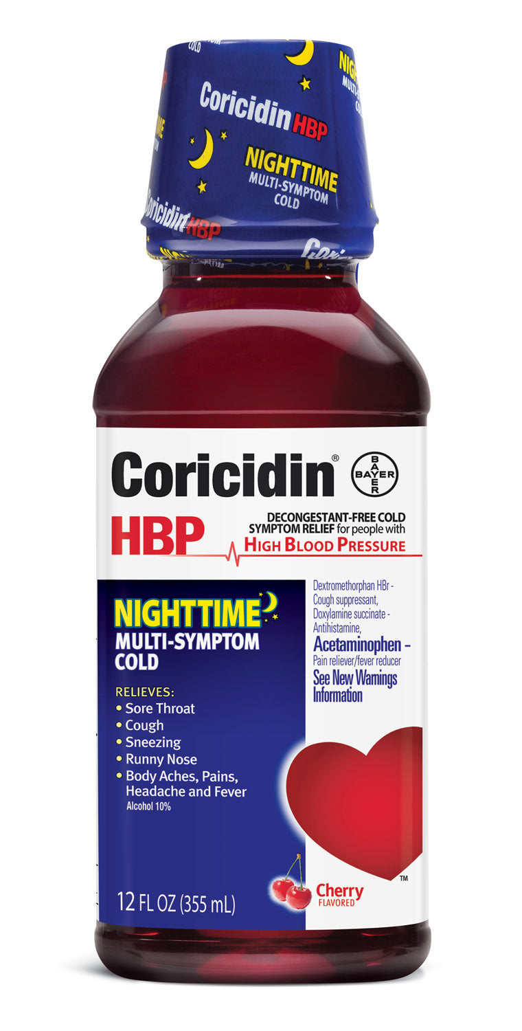 Coricidin HBP Nighttime MultiSymptom Liquid for People with High Blood Pressure - 12 Ounce