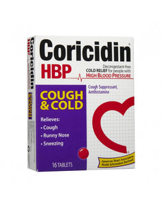 Coricidin HBP Cough & Cold for People with High Blood Pressure - 16 Tablets