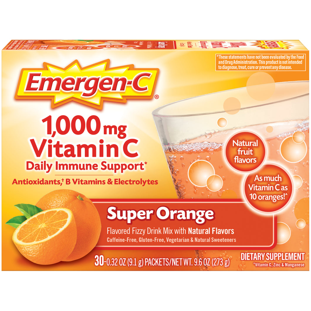 Emergen-C 1000mg Vitamin C Daily Immune Support Drink, Super Orange - 30 Pack