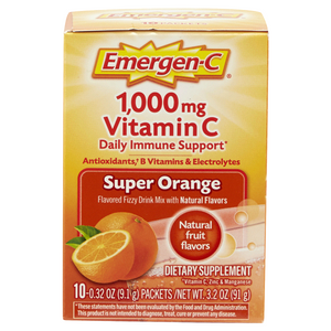 Emergen-C 1000mg Vitamin C Daily Immune Support Drink, Super Orange - 10 Pack