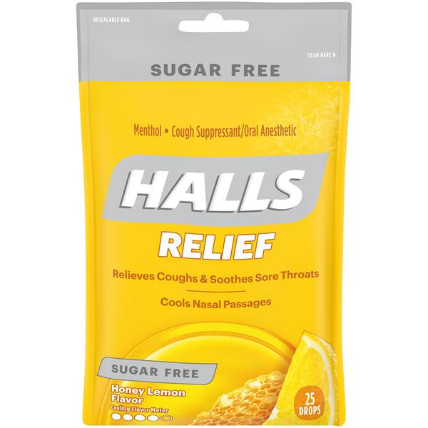 Halls Relief Honey Lemon Cough Drops Sugar Free - 25 Count