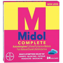 Load image into Gallery viewer, Midol Complete Menstrual Pain Relief Gelcaps with Acetaminophen - 24 Count