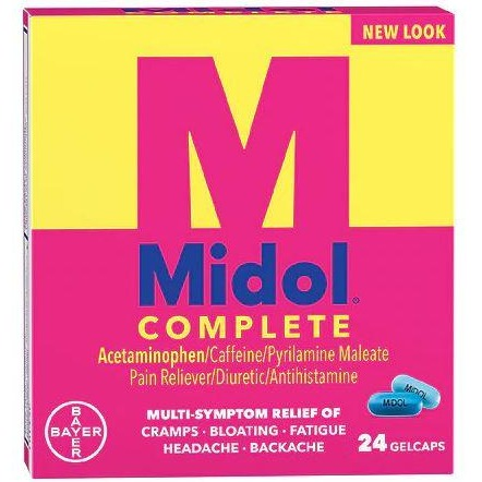 Midol Complete Menstrual Pain Relief Gelcaps with Acetaminophen - 24 Count