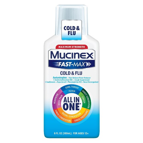 Mucinex Fast Max Cold/Flu All-In-One Liquid - 6 Ounce