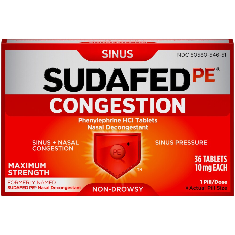 Sudafed PE Maximum Strength Sinus Decongestant Non-Drowsy - 36 Count