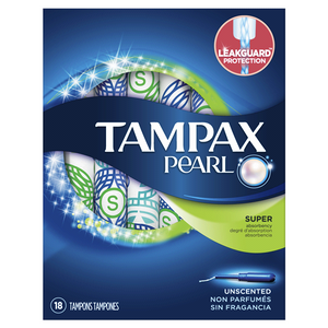Tampax Pearl Tampons Super Absorbency with LeakGuard, Unscented - 18 Count