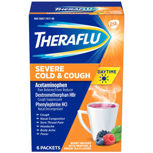 TheraFlu Daytime Severe Cold & Cough Packets, Berry - 6 Count