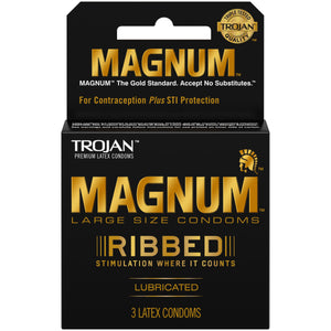 Trojan Magnum Ribbed Large Size Lubricated Condoms