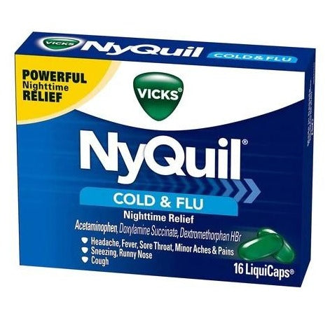 Vicks NyQuil MultiSymptom Nighttime Cold & Flu LiquiCaps - 16 Count
