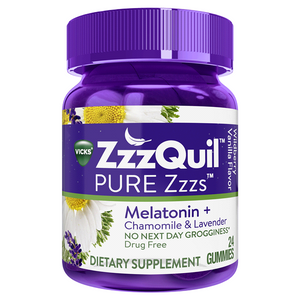 Vick's Pure Zzzs Melatonin + Chamomile & Lavender Sleep Aid Gummies - 24 Count