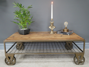 Industrial style table, interior design