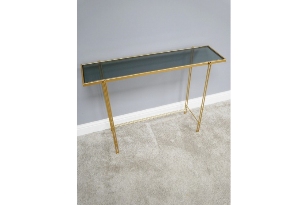 Load image into Gallery viewer, Gold finish Glass top Console Table-Maximalist Love-Maximalist Love