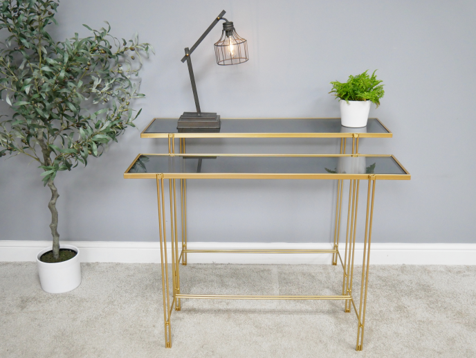 Gold finish Glass top Console Table-Maximalist Love-Maximalist Love