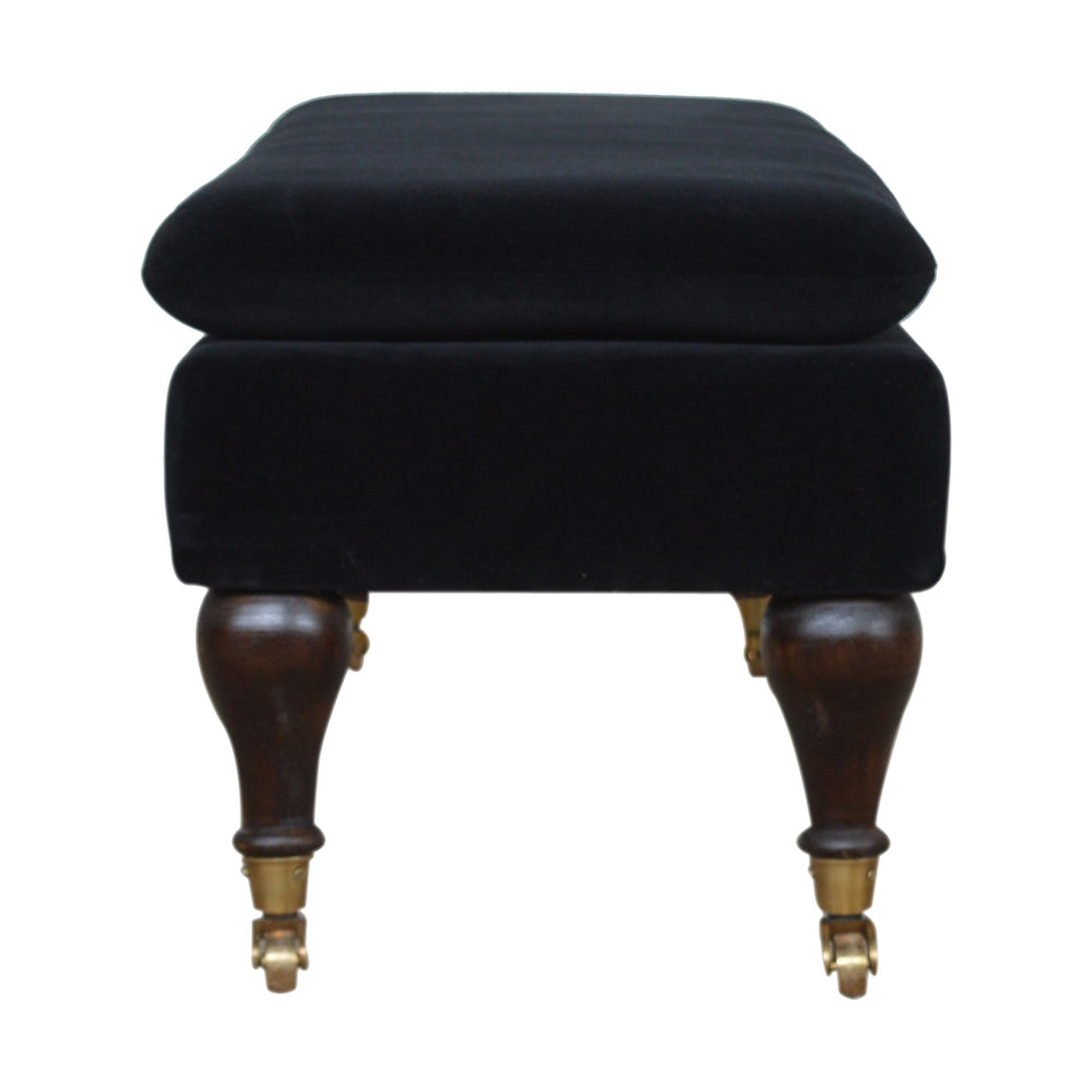 Load image into Gallery viewer, Upholstered Velvet Bench on Castors-seating-Maximalist Love-Black-Maximalist Love