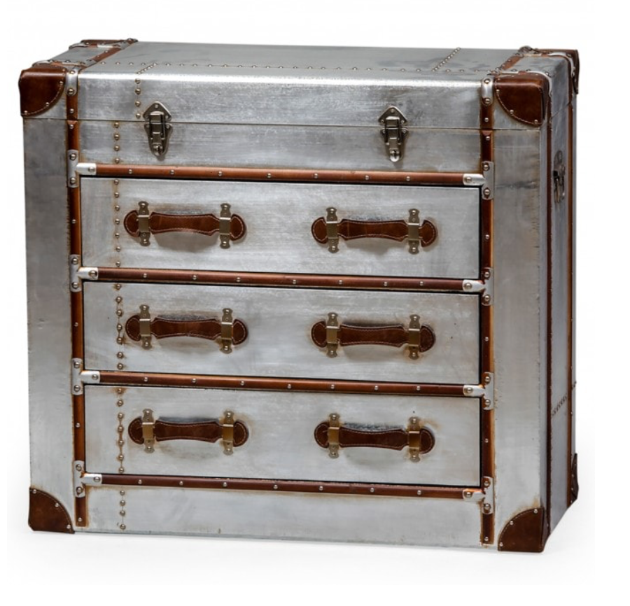 Brushed silver finish Chest of Drawers-Cabinets, Sideboards-Maximalist Love-Maximalist Love