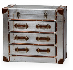 Load image into Gallery viewer, Brushed silver finish Chest of Drawers-Cabinets, Sideboards-Maximalist Love-Maximalist Love
