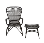 Black Wicker Armchair and Stool-seating-Maximalist Love-Maximalist Love