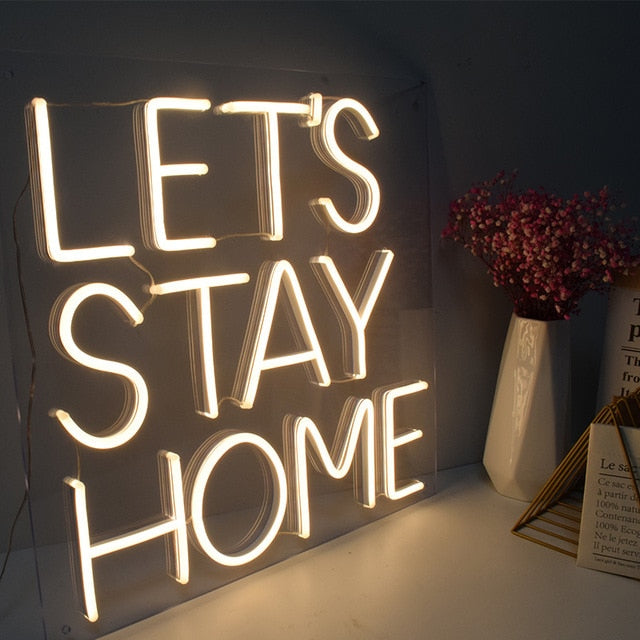 Neon Signs Handcrafted to order-Lighting-Maximalist Love-Lets Stay Home-UK plug-Maximalist Love