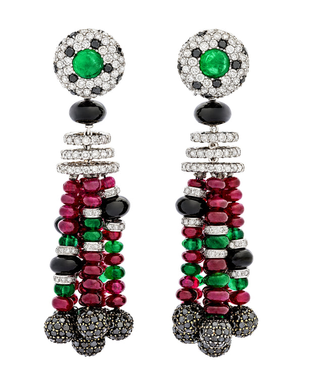 Emerald, diamond and ruby beaded earrings set with a myriad of gemstones, crafted in 18 karat white gold.
