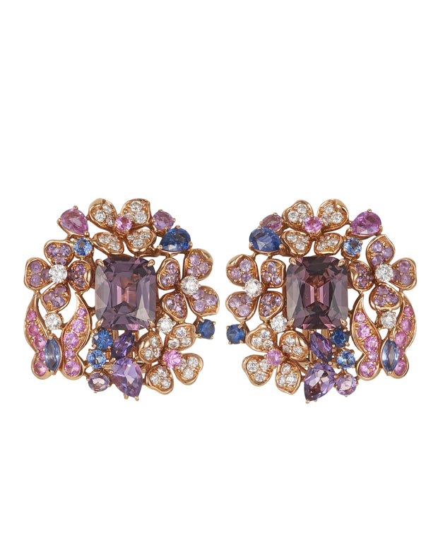 """Purple Garden"" perfect pair of purple spinel enhanced with a myriad of gemstones, crafted in 18 karat rose and white gold"