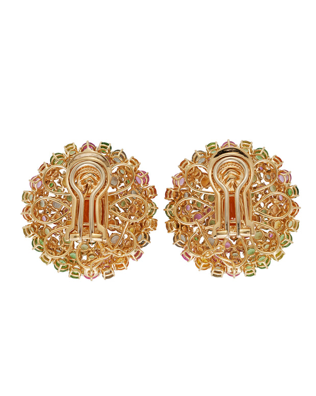 """Orange Burst"" mandarin garnet earrings surrounded by a myriad of gemstones, crafted in 18 karat yellow gold."