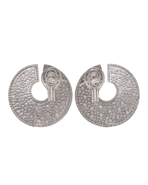 Circular pave diamond set keyhole earrings, crafted in 18 karat white gold.