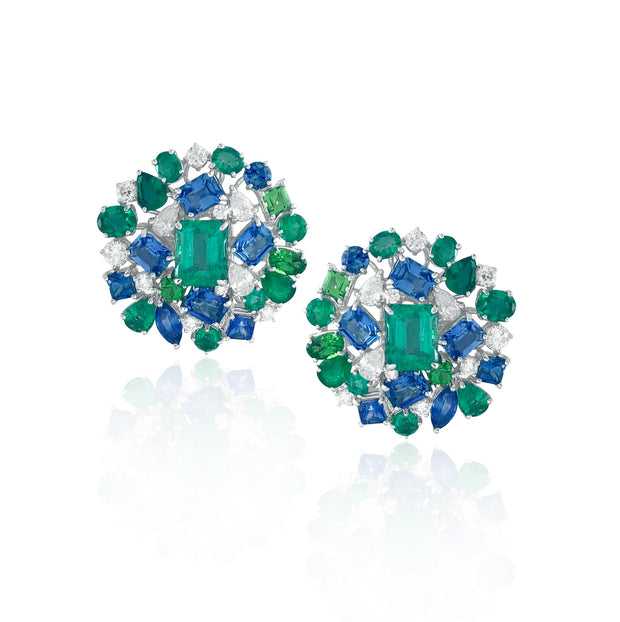 Emerald and multi-coloured stone earrings, crafted in 18 karat white gold.