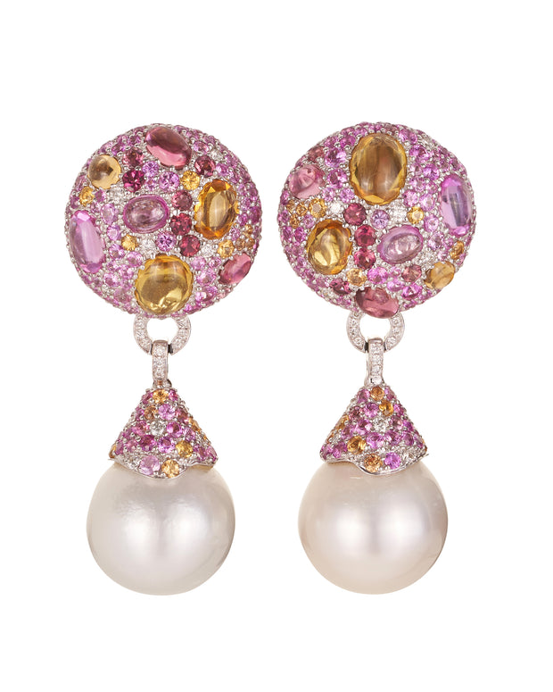 """Cookie"" pink sapphire earrings, featuring capped South Sea Pearl pendant drops, crafted in 18 karat white gold."