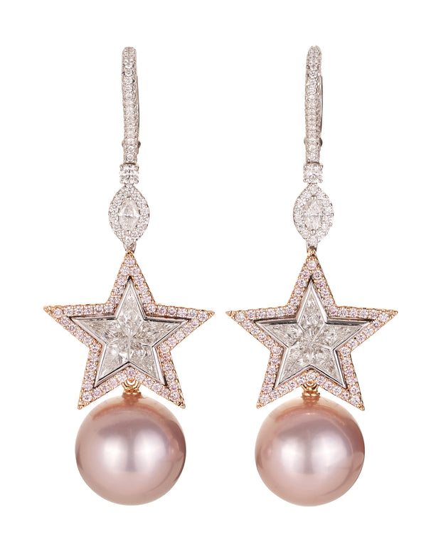 "Pink diamond and pearl ""Star"" earrings set with white and pink diamonds, featuring a detachable pair of pink fresh water cultured pearls, crafted in 18 karat rose gold."
