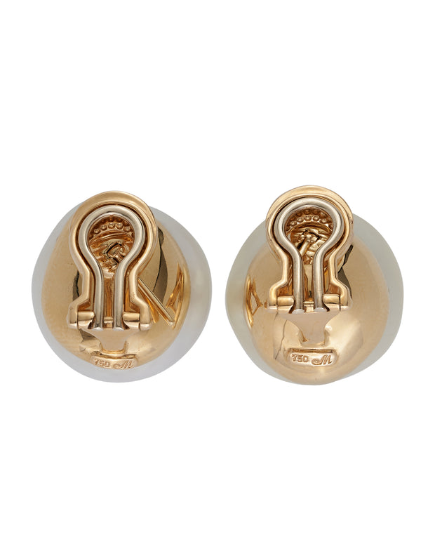 Pearl earrings, crafted in 18 karat yellow gold.